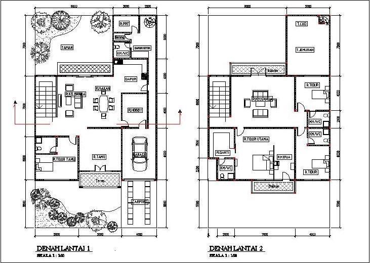Denah Rumah Sederhana 2 Lantai