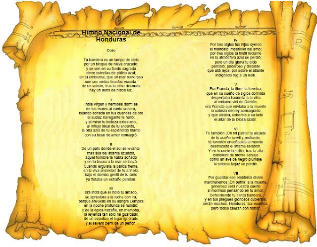 himno nacional de honduras decorado, himno nacional de honduras con pergamino, imagen del himno nacional de honduras, decoraciones del himno nacional de honduras, imagenes bonitos del himno nacional de honduras, independencia de honduras, decoraciones para mural de independencia de honduras.