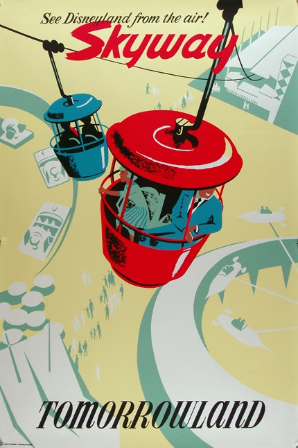 advertising, classic posters, free download, free printable, graphic design, printables, retro prints, vintage, vintage posters, vintage printables, disney, See Disneyland from the Air! Skyway, Tomorrowland - Vintage Disney Advertisement Printable Poster