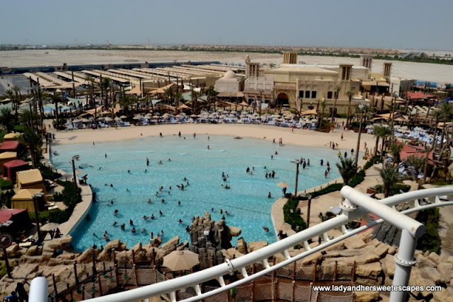 aerial view of the Amwaj beach in Yas Waterworld