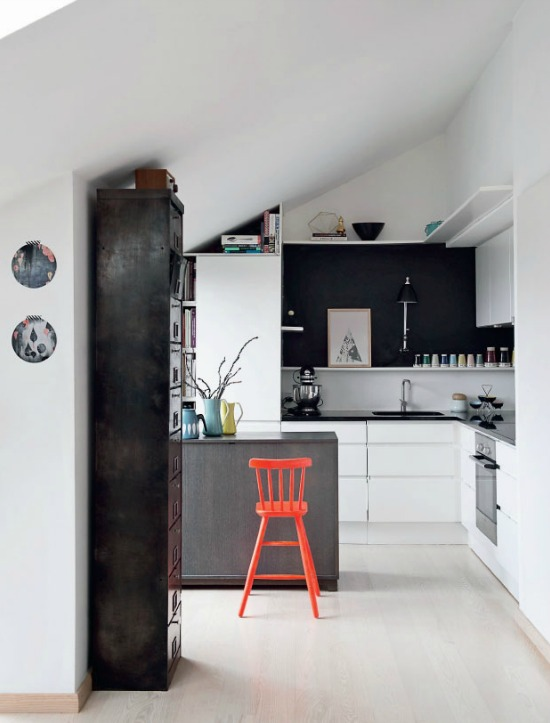 kitchen with pop of color