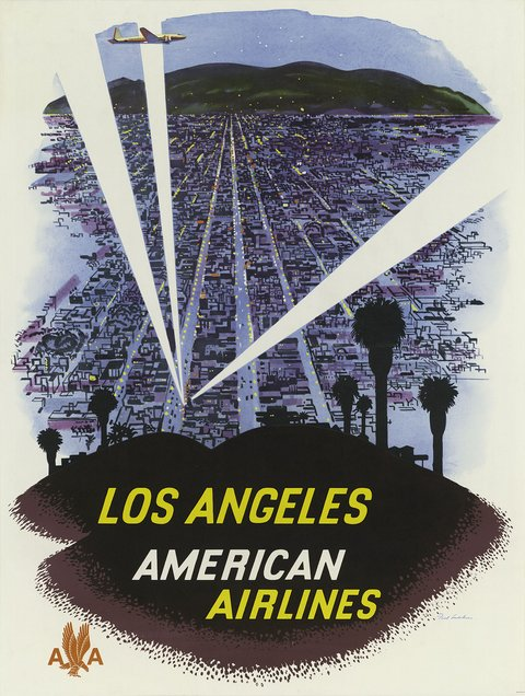 classic posters, free download, graphic design, retro prints, travel, travel posters, vintage, vintage posters, Los Angeles, American Airlines - Vintage Travel Poster