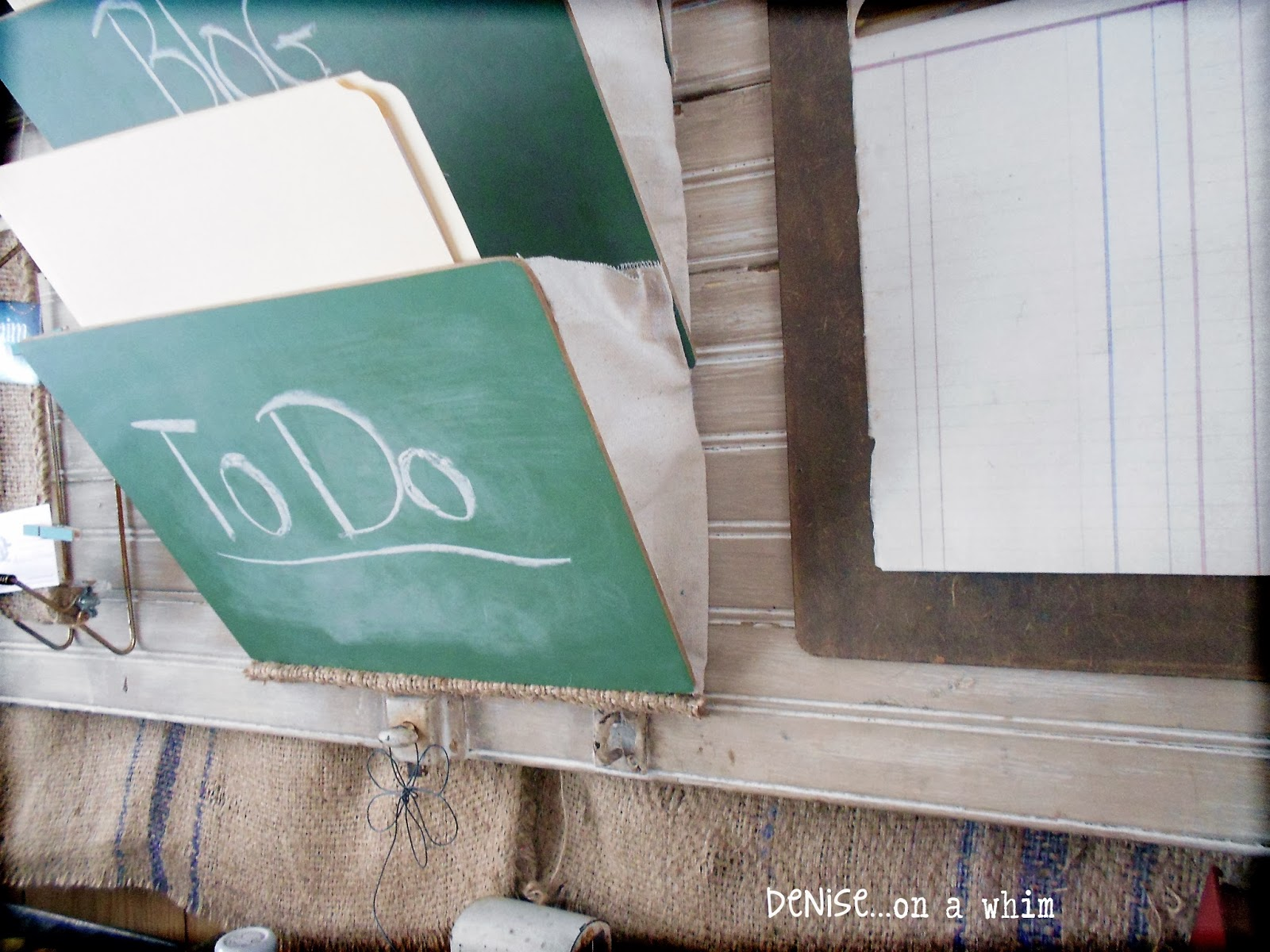 School Chalkboard Slates into File Pockets via http://deniseonawhim.blogspot.com