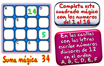 Cuadrados mágicos, cuadrados mágicos de tamaño 4x4, cuadrados magicos de orden 4, cuadrados mágicos con solución
