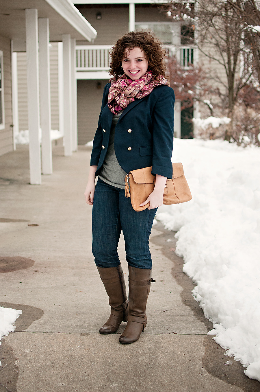 Blue Blazer with Boots and a scarf