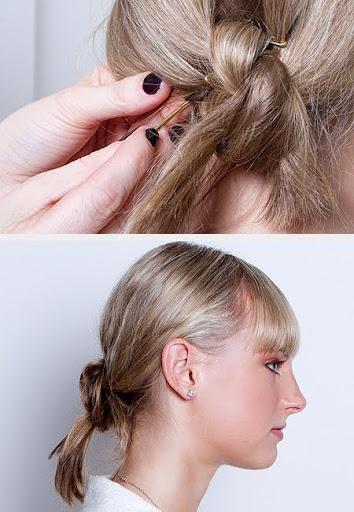 Кок с възел - завършваме с лак за коса