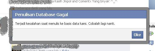 penulisan database facebook gagal