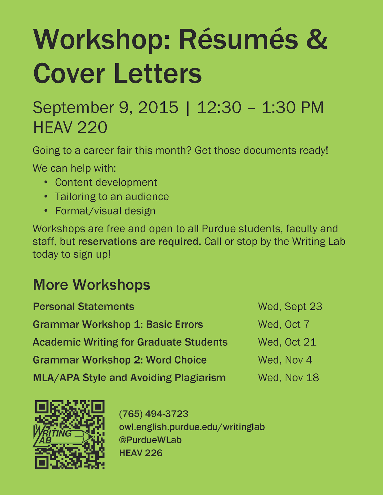 Writing Lab Resume/Cover Letter Workshop (Sept. 9th)