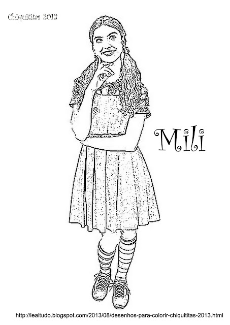 Colorir Desenhos das Personagens da Novela 'Chiquititas 2013' sbt Mili, Pata, Bia, Cris, Vivi, Tati e Ana para Colorir.