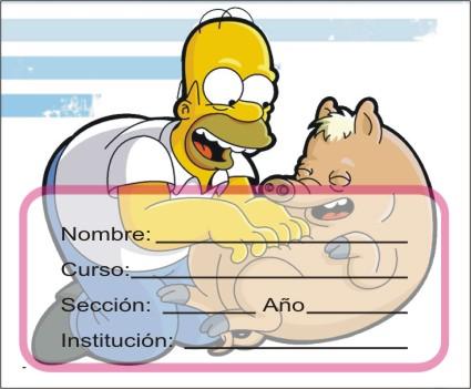 http://etiquetasparacuadernos.blogspot.com/2014/09/homero-jugando-con-cerdo.html