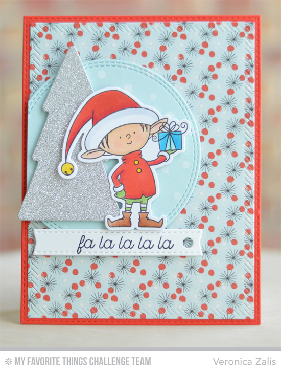 Fa La La Card by Veronica Zalis featuring the Birdie Brown Santa's Elves stamp set and Die-namics and the Lisa Johnson Designs Trim the Tree stamp set and Die-namics #mftstamps