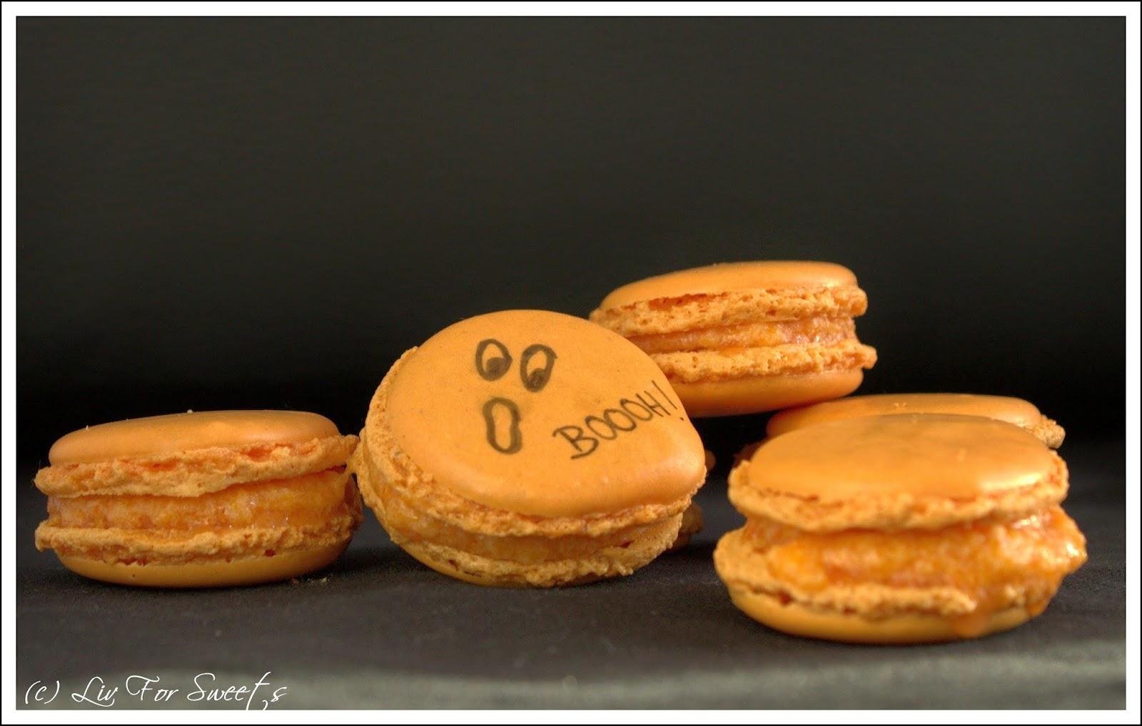 Pumpkin-Pie-Spice Macarons mit einer Füllung aus Kuerbis-Buttercreme, Rezept, Thermomix, orange