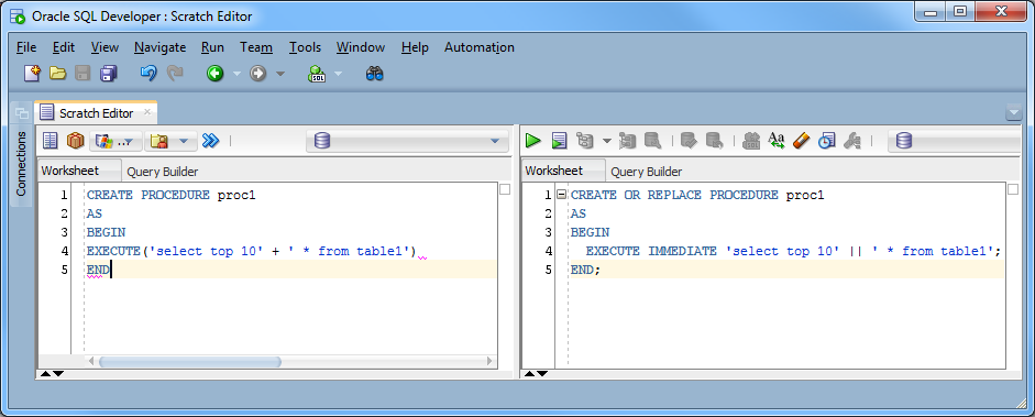 execute immediate oracle with variable