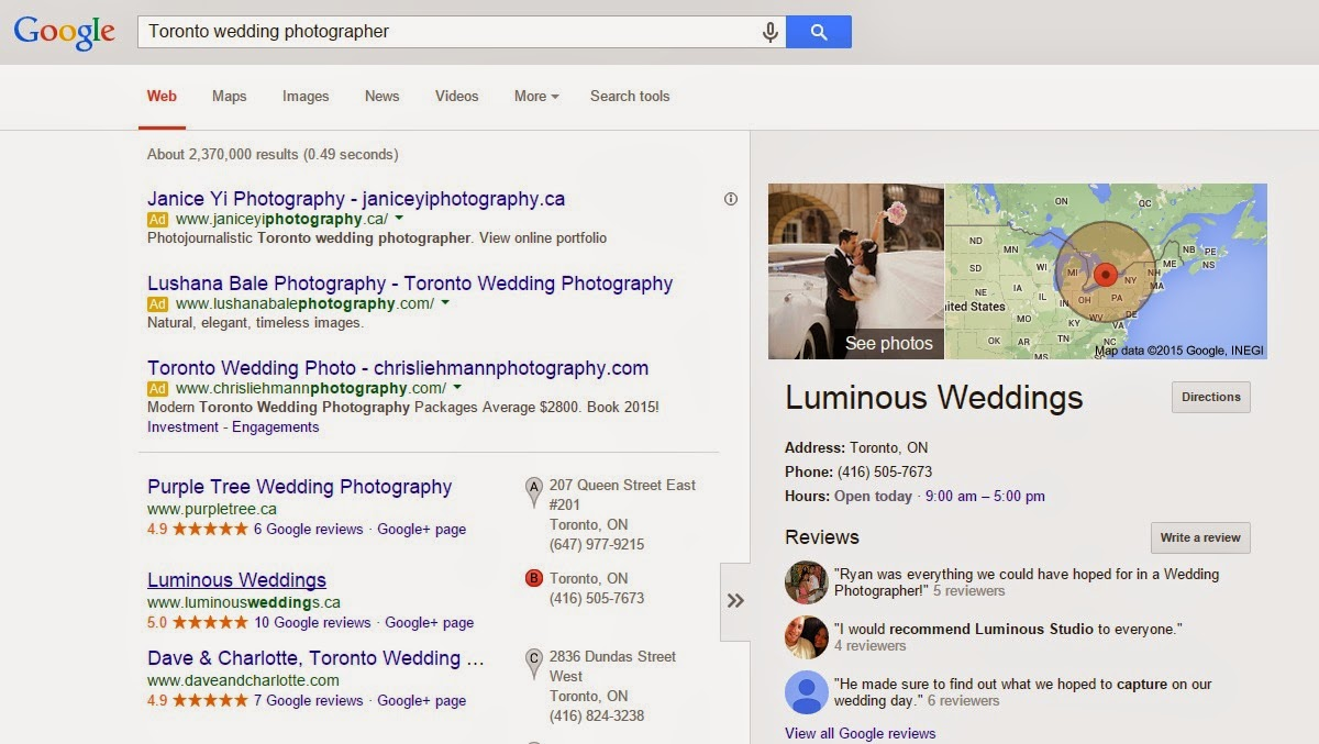 Local listing for Toronto wedding photographer