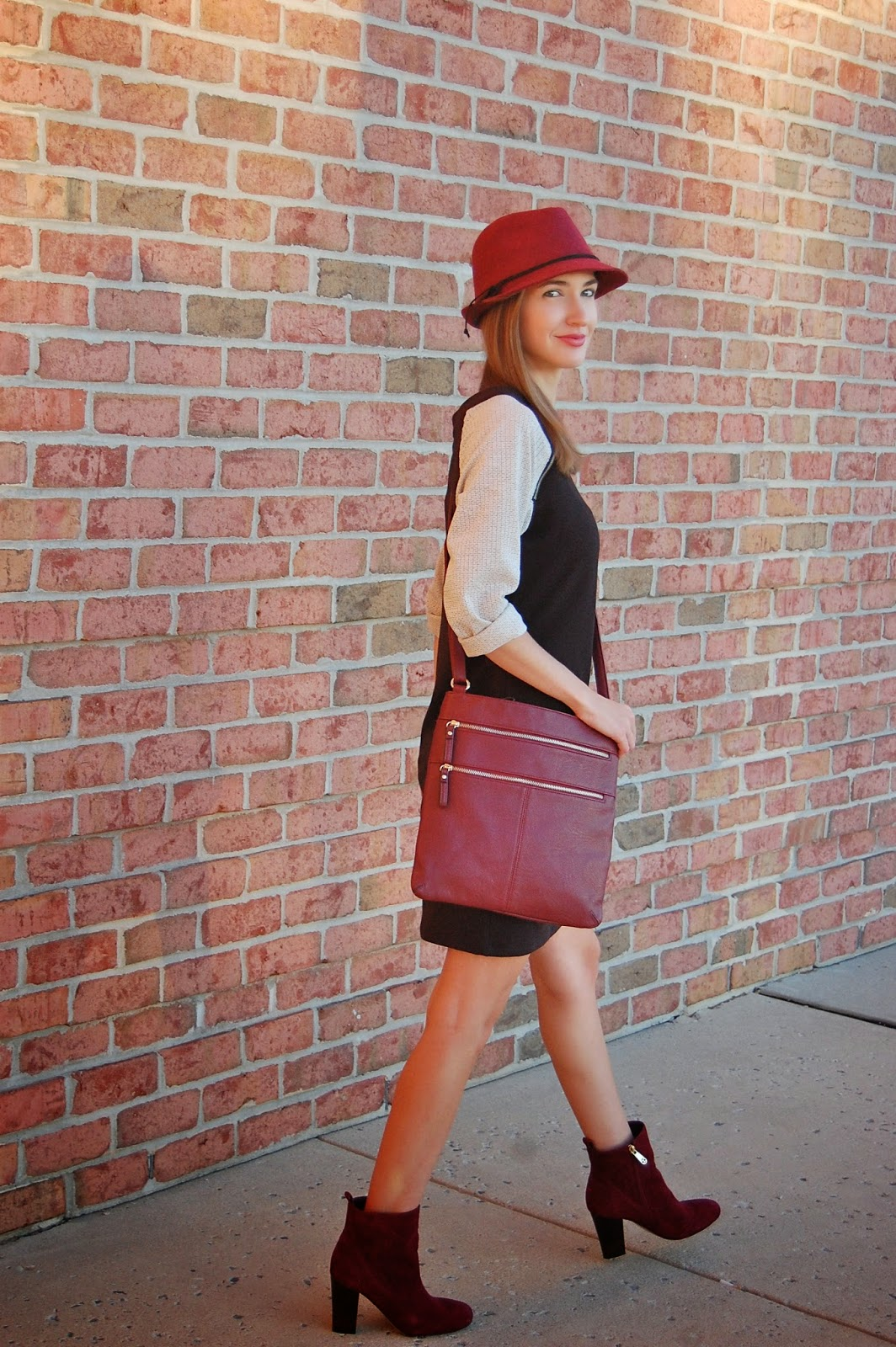 Trixxi Girl Fall Sweater Dress exclusive by Charlotte Russe, Oxblood Suede Booties, Oxblood Fedora
