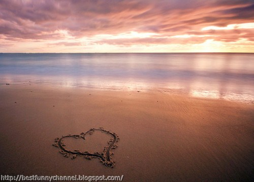 Heart On The Beach Sunset