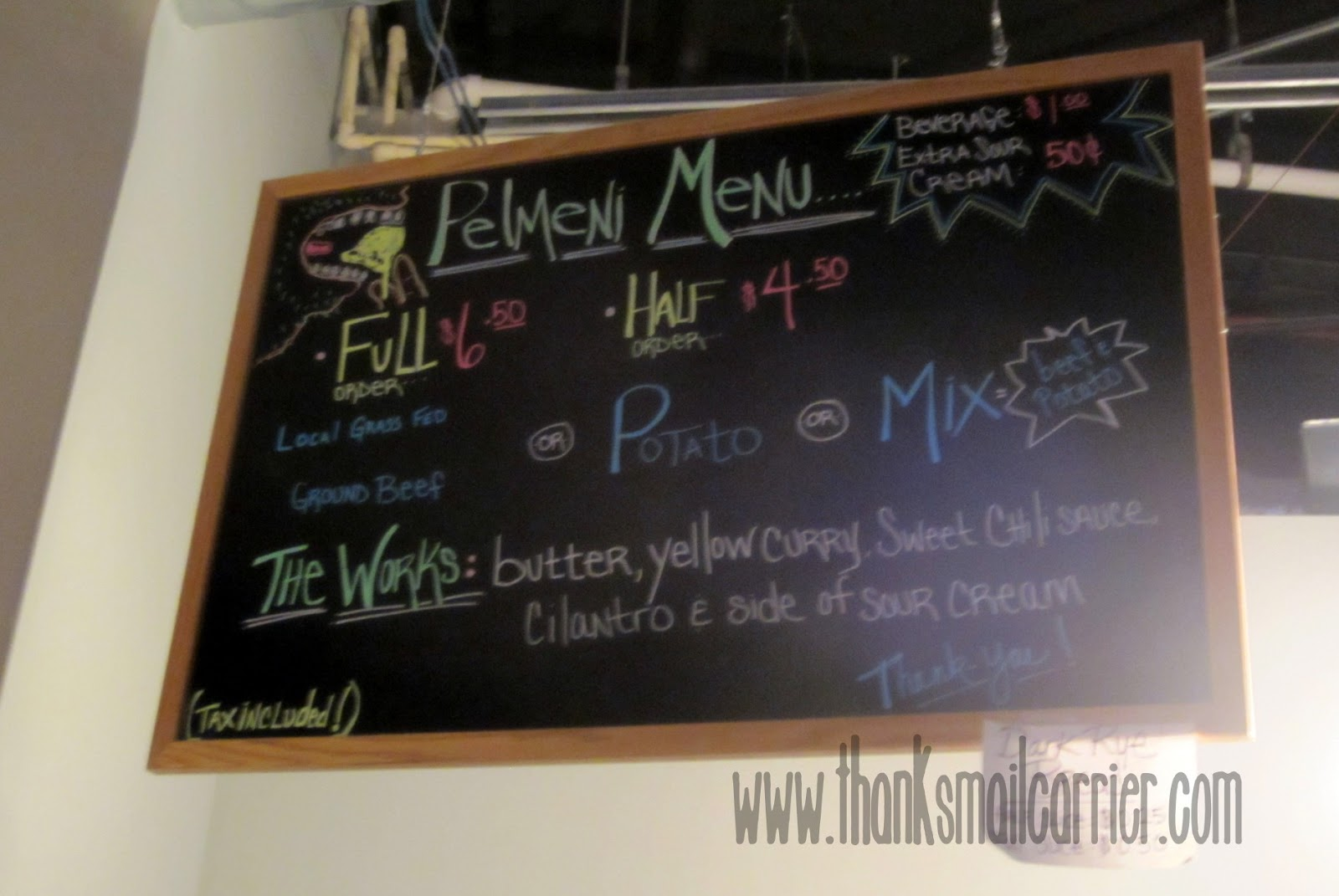 Paul's Pel'meni menu