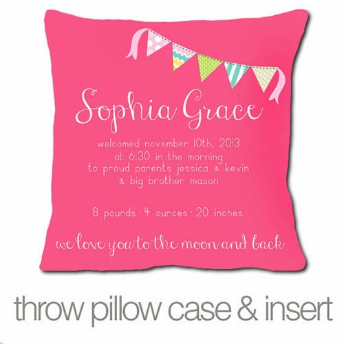 New Baby Gift - Girly Throw Pillow