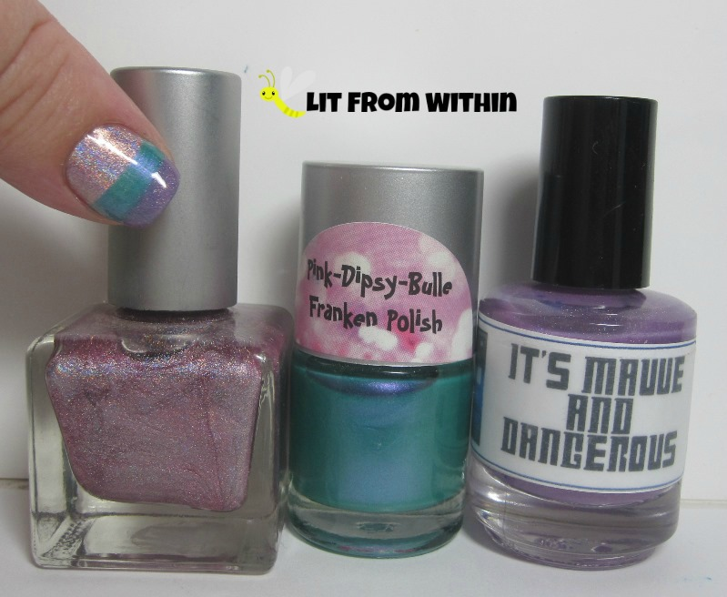 Bottle shot:  Urban Outfitters Pink Holo, Pink-Dipsy-Bulle Water Lily, and LynBDesigns It's Mauve And Dangerous.