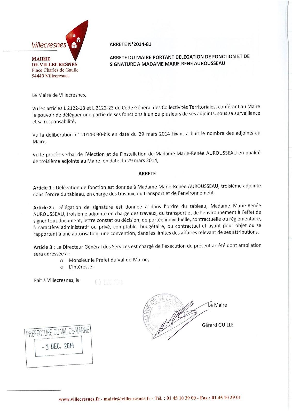 2014-081 Délégation de fonction et de signature à Madame Marie-Renée Aurousseau