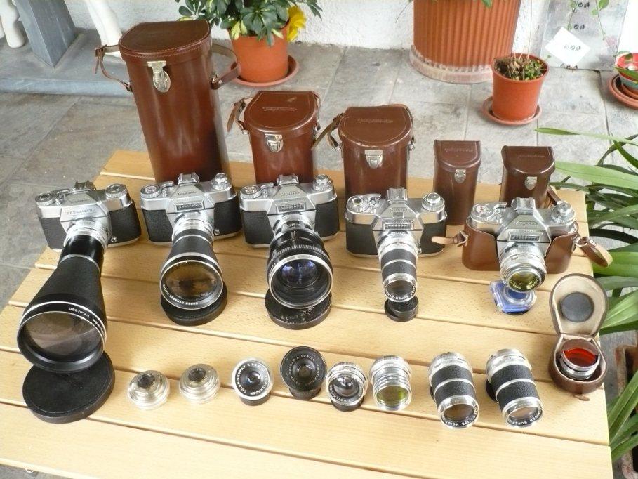 Macchine fotografiche d'epoca, analogiche, meccaniche e relative ottiche.
