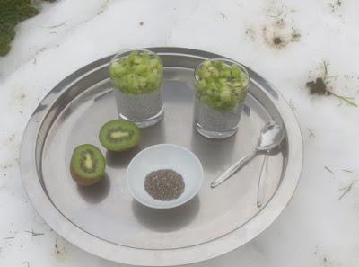 Chia-Kokospudding mit Kiwi