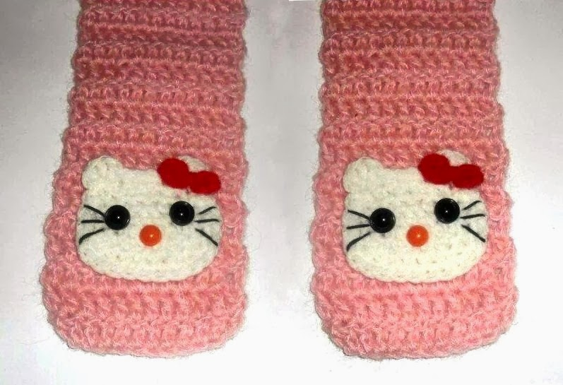 Crochet Patterns For Hello Kitty : Cute Designs: Hello Kitty Skarf Crochet Pattern