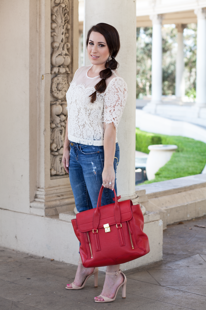 summer outfit ideas, lace top, cropped denim, san diego balboa park, king and kind blog