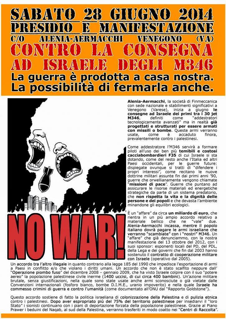 VOLANTINO MANIFESTAZIONE 28 giugno 2014 NO M346 AD ISRAELE
