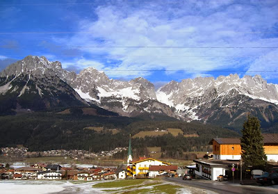 View of the village with the mountains beyond