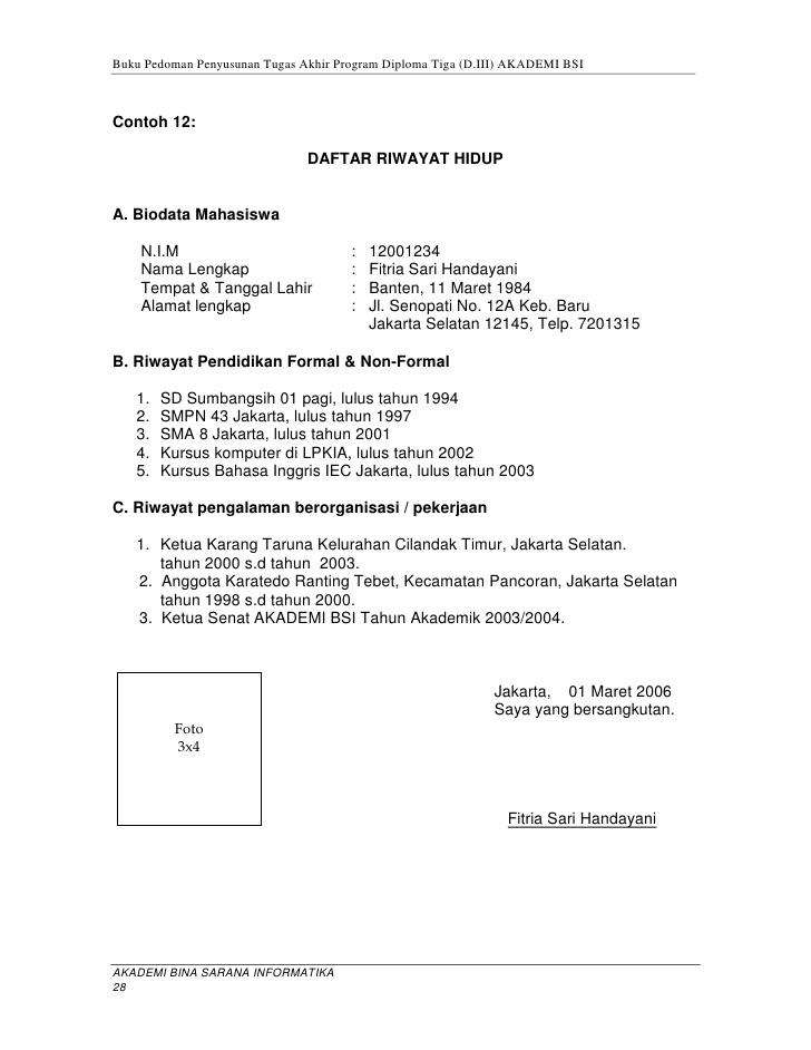 Form Daftar Riwayat Hidup Curriculum Vitae Kosong Research Paper