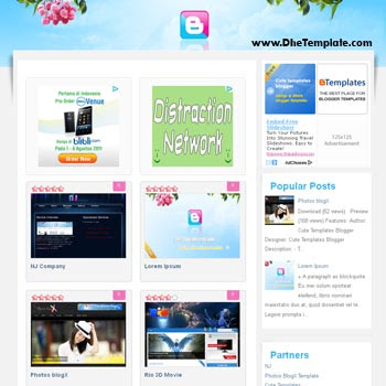 Kute blogger template. template blogger for photo blog