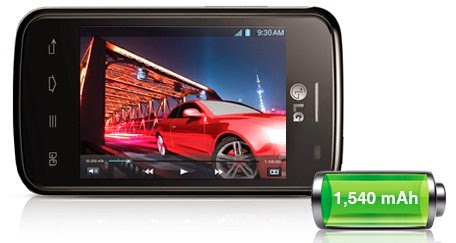 LG Optimus L1 II Dual E420 dengan baterai Li-Ion 1540 mAh