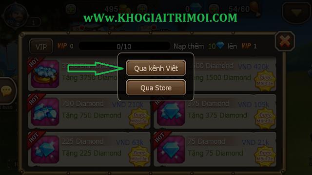 Hướng dẫn mua Diamond trong game DoTa Truyền Kỳ