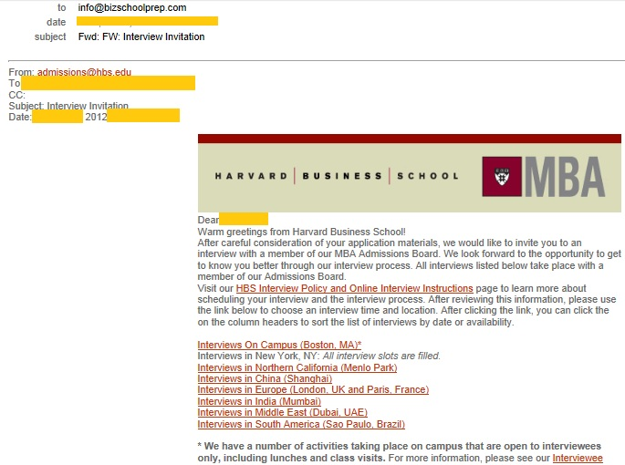 Bizschoolprep blog harvard business school hbs interview invite call please find attached the interview invite received by one of our clients from harvard business schools hbs full time mba program for the second round altavistaventures Images
