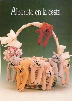 Moldes gatinhos de feltro para enfeitar cesta