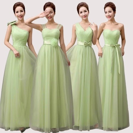 Four-Design Light Olive Green Lace Bridesmaids Maxi Dress
