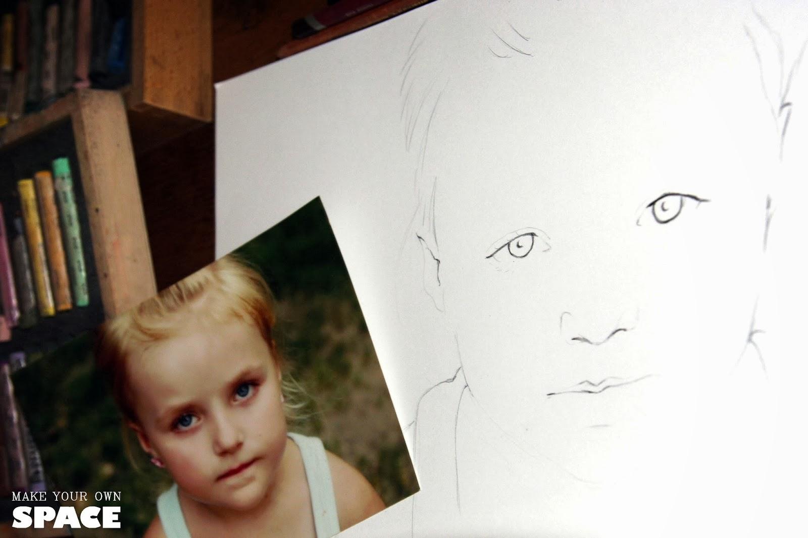 Portret, prezent, pastele, ręcznie malowane