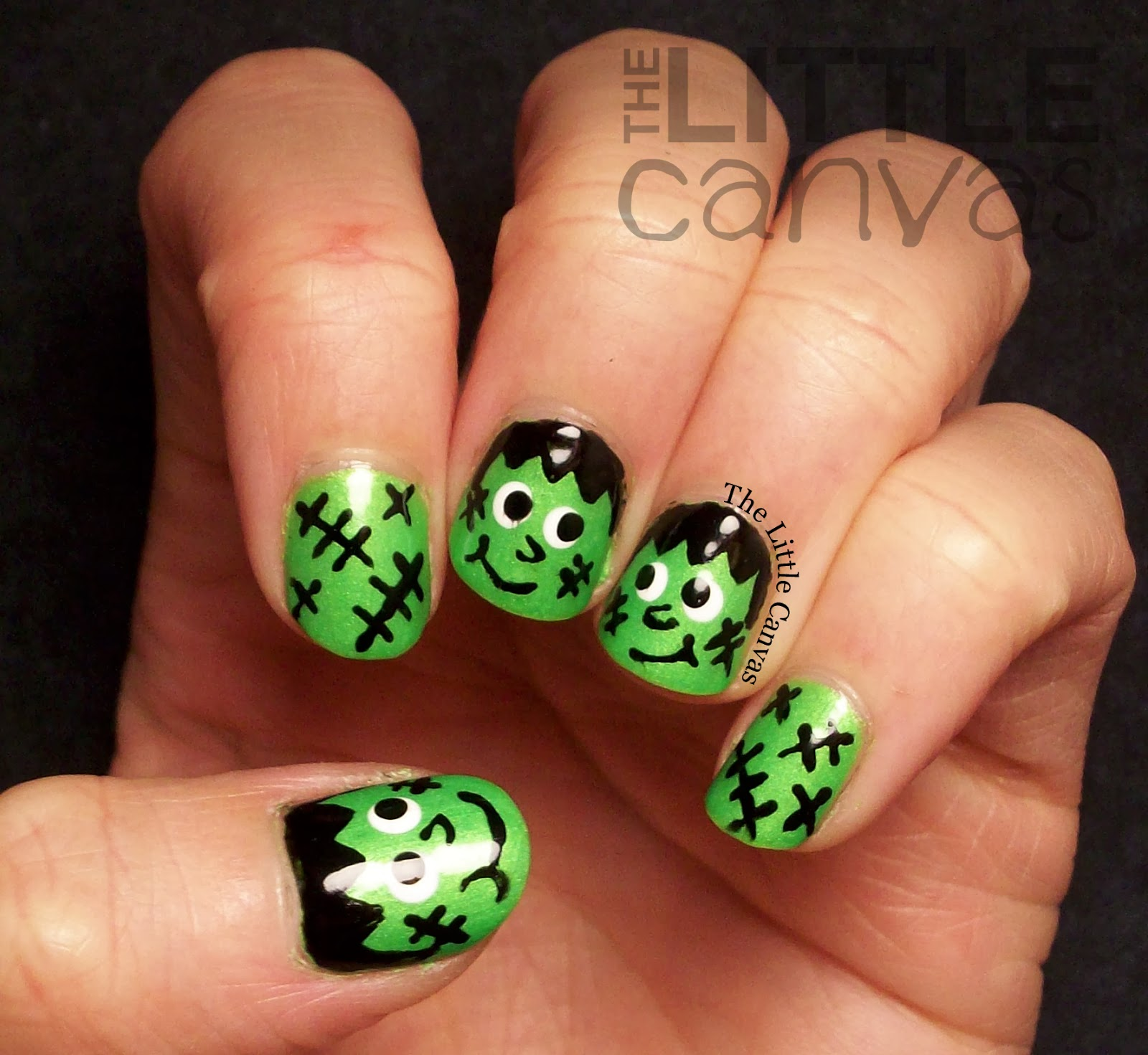 Frankenstein nail art the little canvas frankenstein nail art prinsesfo Image collections
