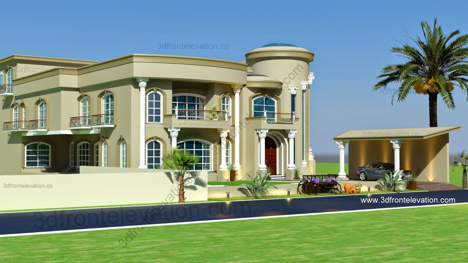 3d front beautiful modern villa design 2015 for Villas exterior design pictures