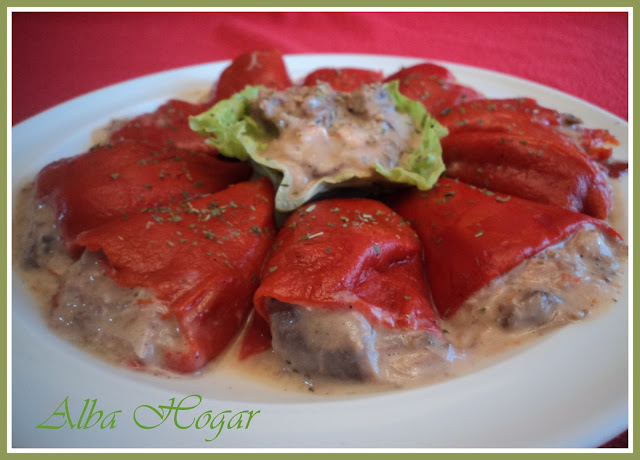 pimientos rellenos de carne carbonara alba hogar