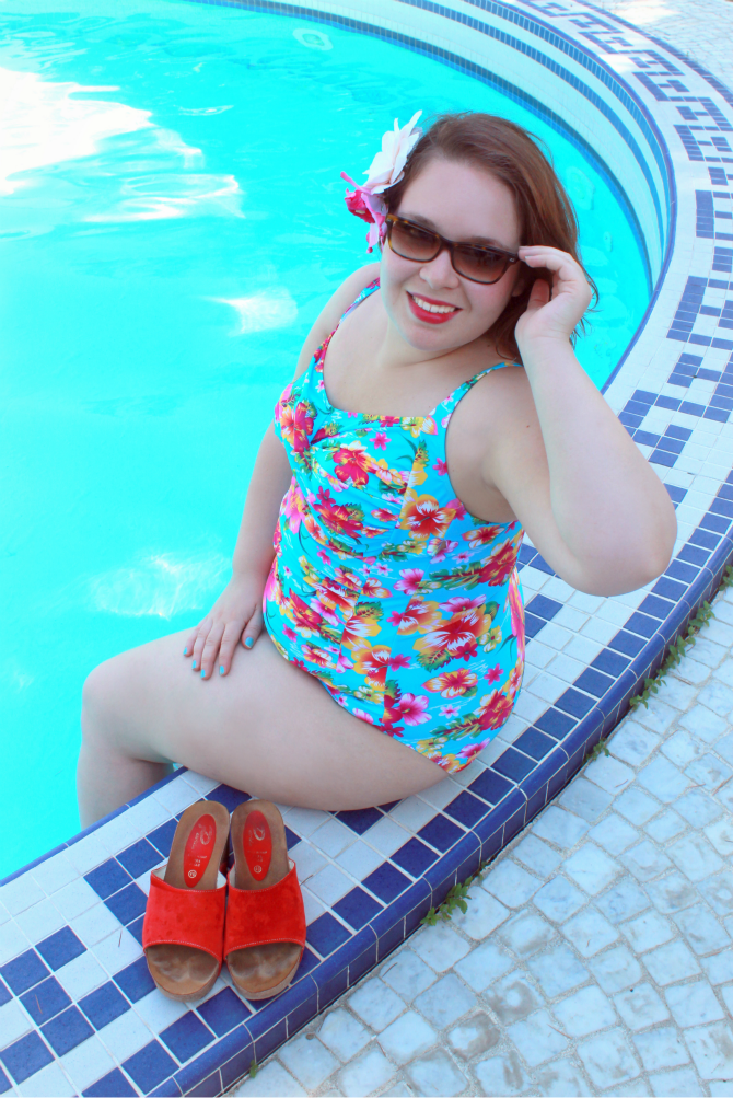 yours clothing floral swimsuit