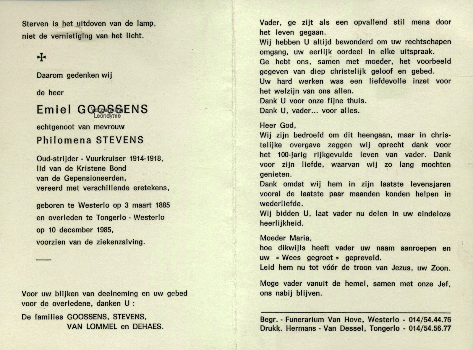 Bidprentje, oud-strijder/vuurkruiser Emiel Goossens 1885-1985. Verzameling Leondyme.