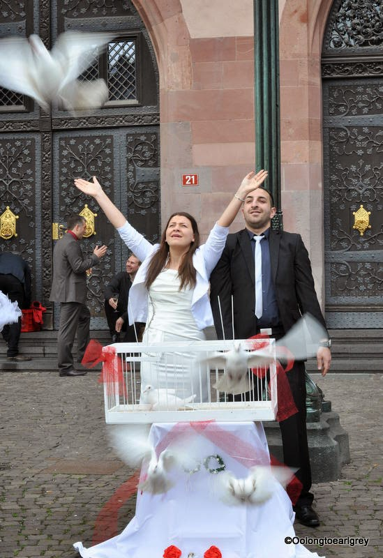 Releasing the doves at a Wedding