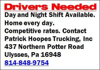 Drivers Needed, P. Hoopes Trucking