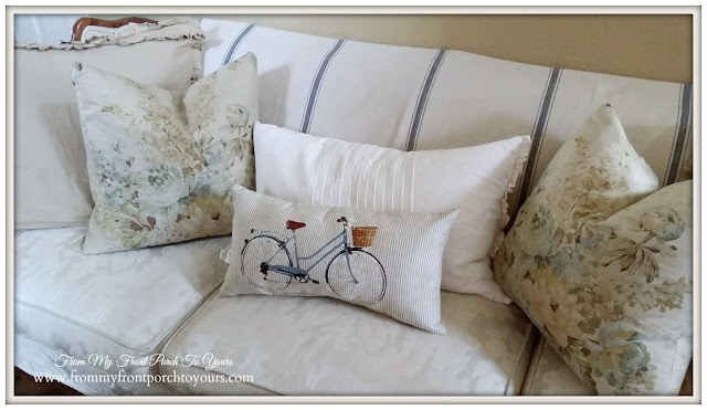 French Laundry Home- Bicycle Pillow- Target Pillow-Spring Pillows-Farmhouse Foyer-From My Front Porch To Yours