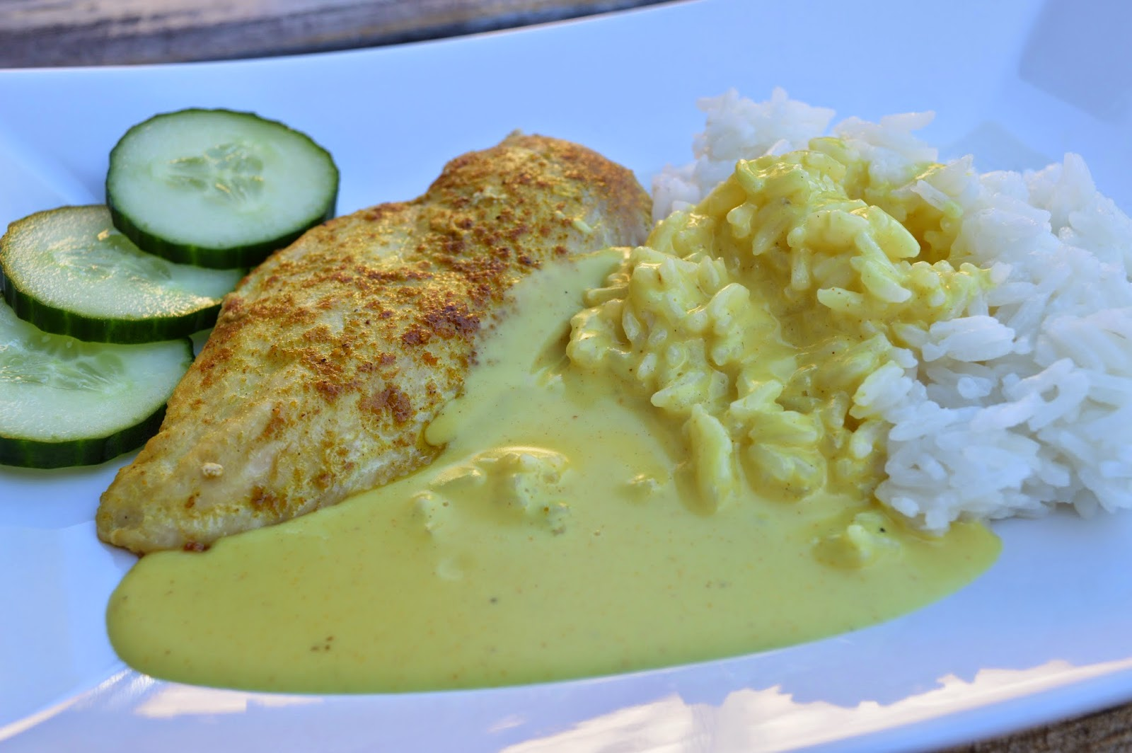 stekt kycklingfile med currysås