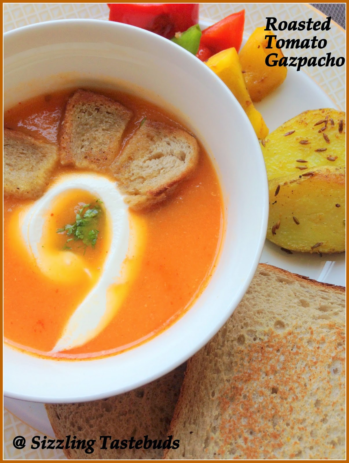 Sizzling Tastebuds: Grilled Tomato Gazpacho   Spanish Soup   Easy Soup ...