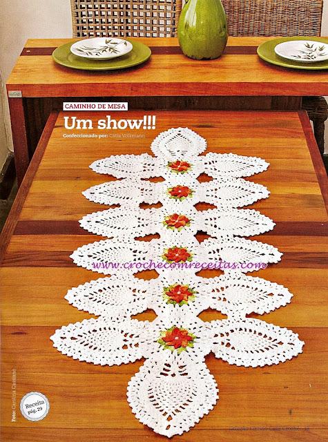 caminhos de mesa em croche com receitas