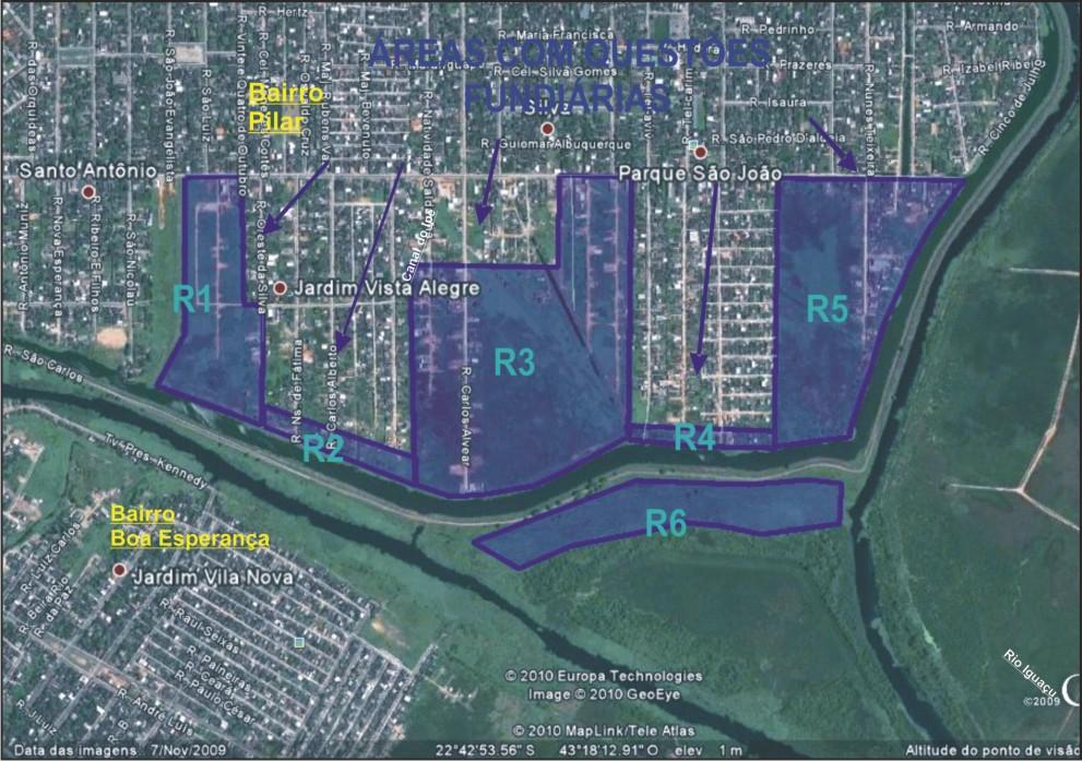 Mapa da Área Cadastrada para Reassentamento Bairro Pilar/D.Caxias.